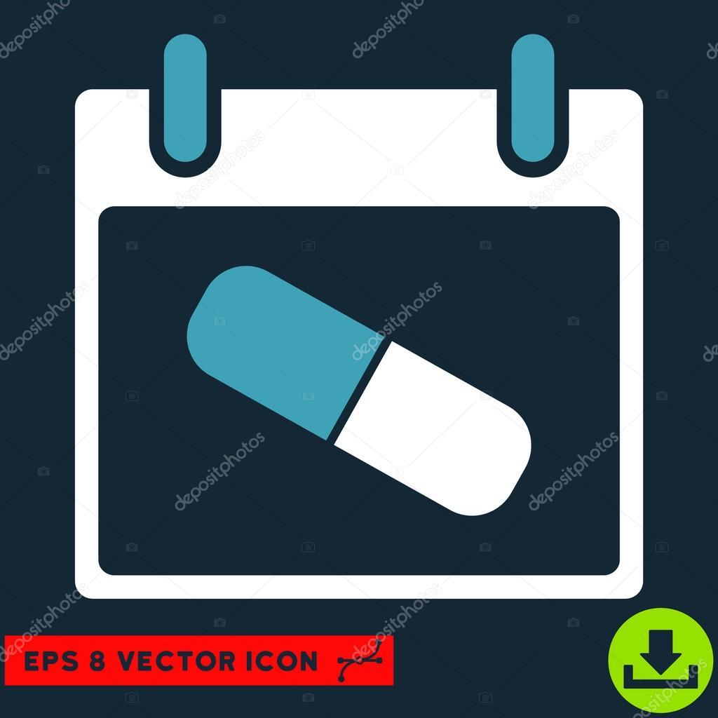 Medicamentos píldora del icono de calendario día vectores Eps ...