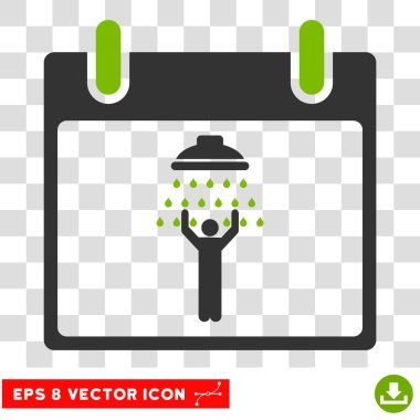 Man Shower Calendar Day Eps Vector Icon