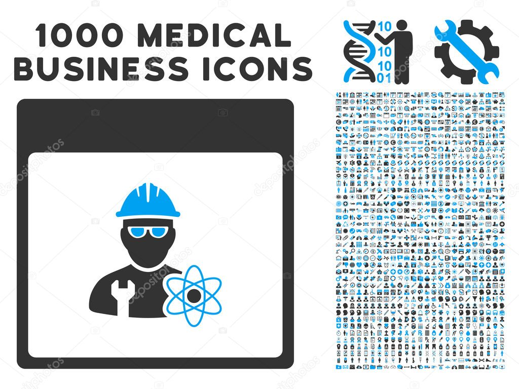 Atomic Engineer Calendar Page Icon With 1000 Medical Business