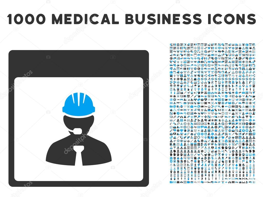 Engineer Calendar Day Icon With 1000 Medical Business Symbols