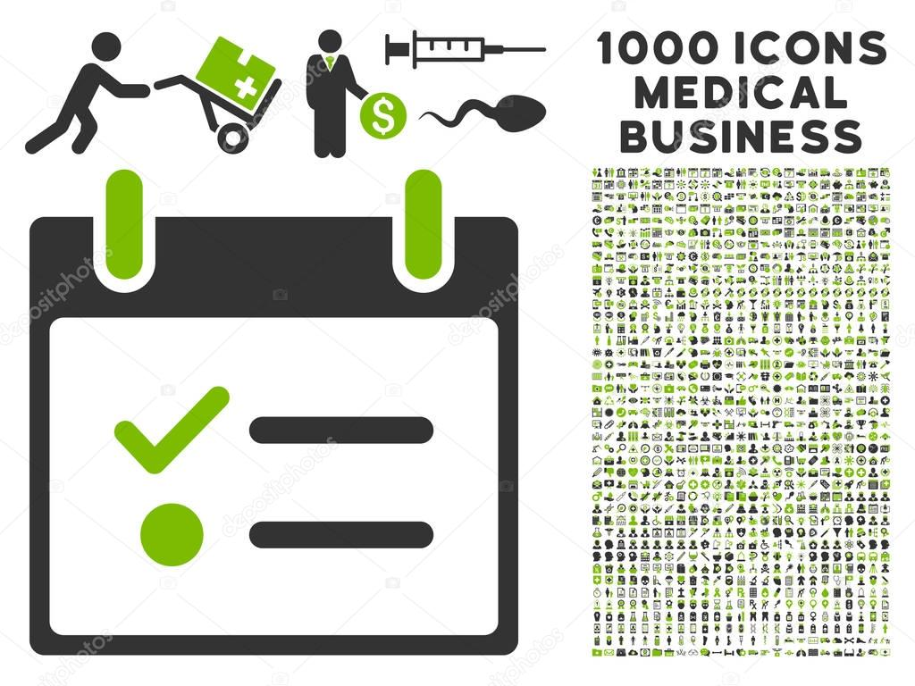 Todo List Calendar Day Icon With 1000 Medical Business Symbols