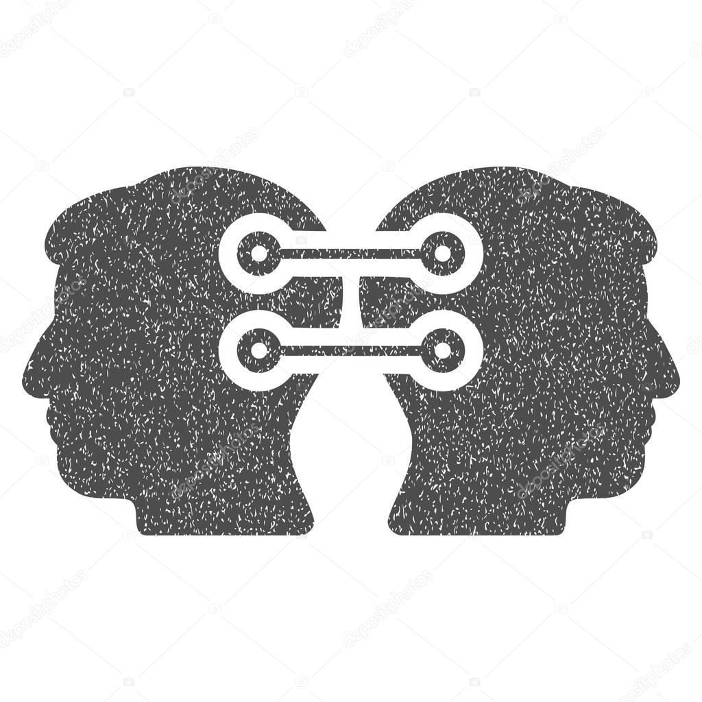 Zwei Köpfe Schnittstelle Verbindungssymbol körnige Textur ...