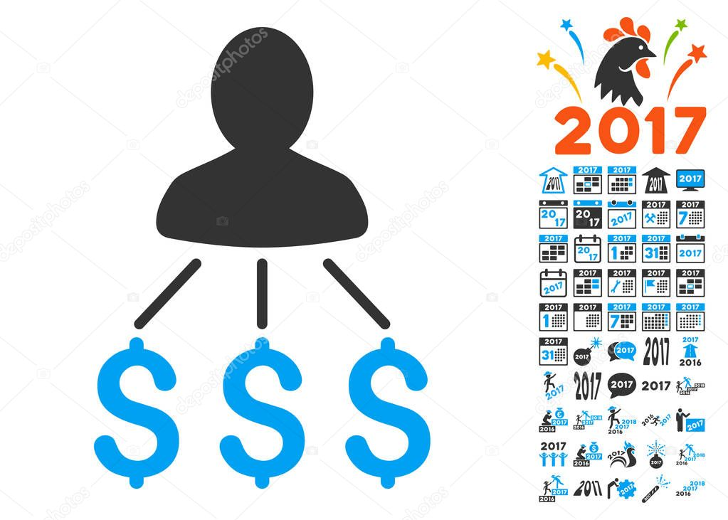 person expenses icon with 2017 year bonus pictograms stock vector