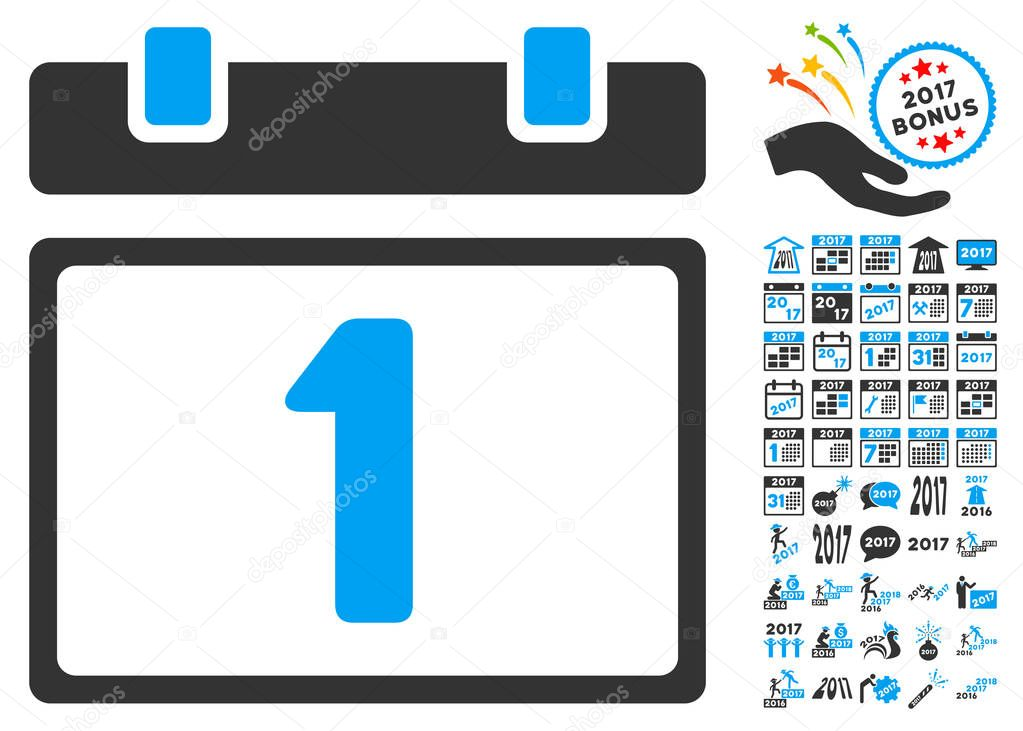 first day pictograph with bonus 2017 new year symbols vector illustration style is flat iconic symbolsmodern colors vector by ahasoft