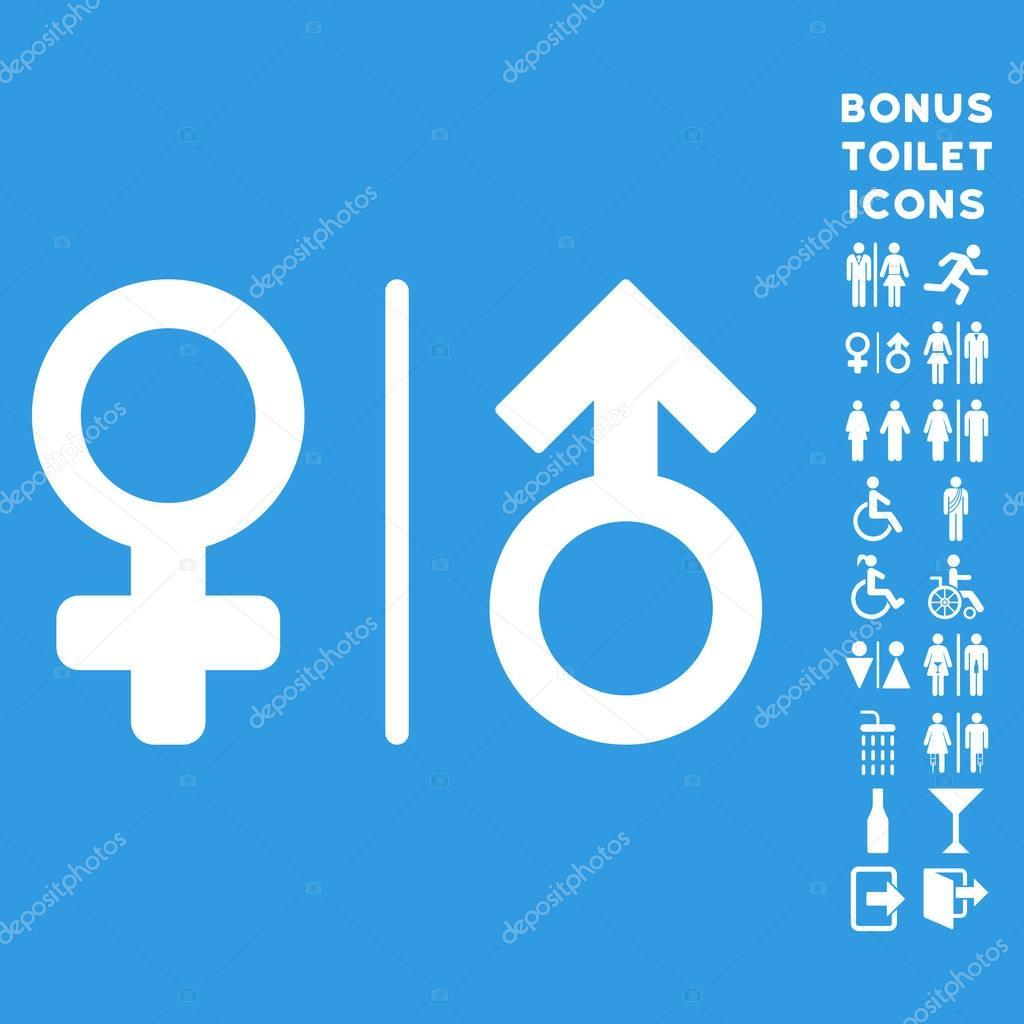 Wc Gender Symbols Flat Vector Icon And Bonus Stock Vector