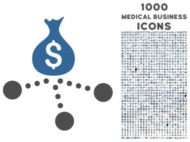 Money Distribution Icon with 1000 Medical Business Icons