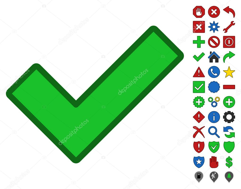 Ok Symbol With Toolbar Icon Set Stock Vector Ahasoft 129874690