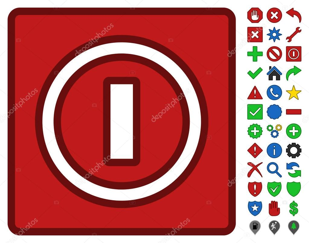 Turn Off Switch Symbol With Toolbar Icon Set Stock Vector