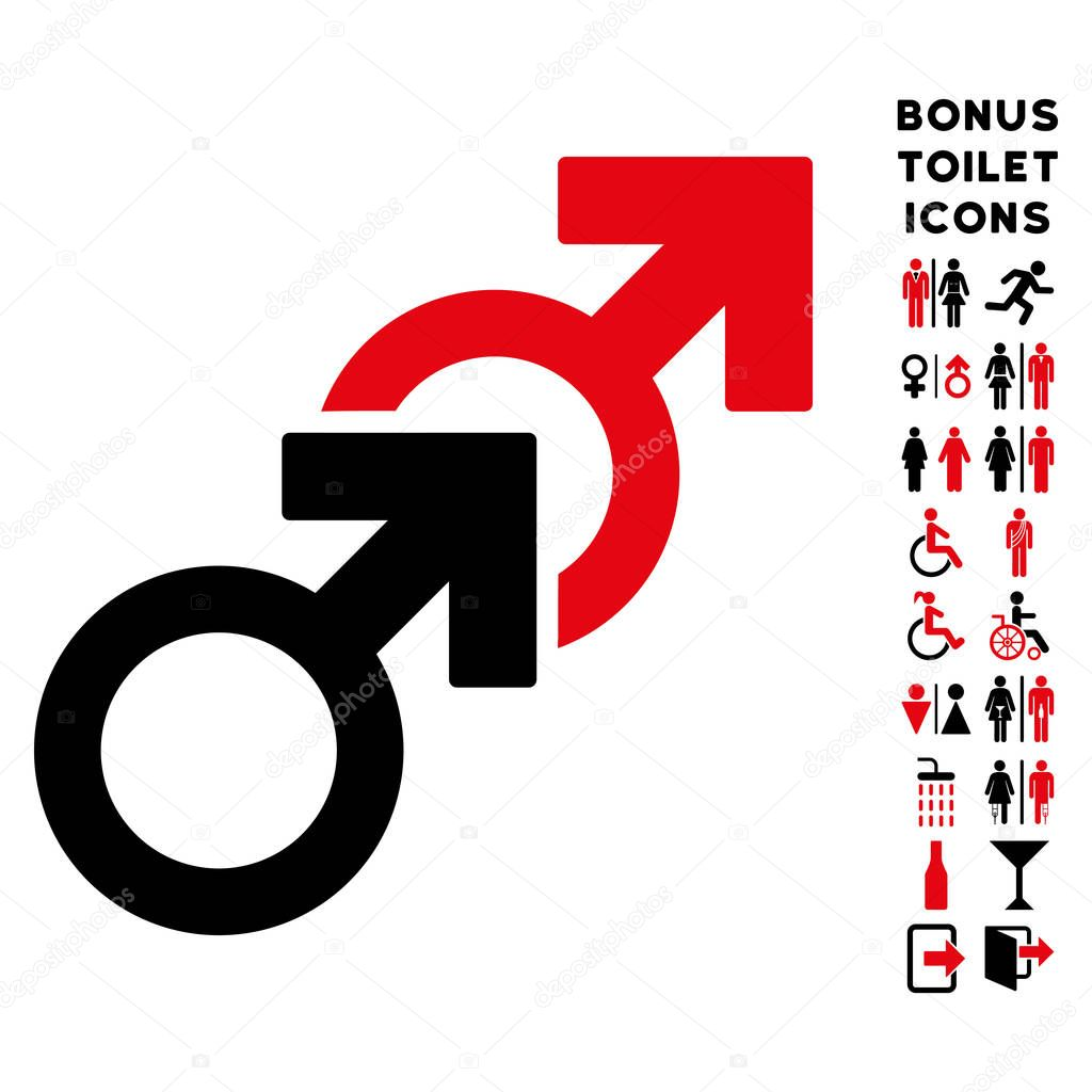 Gay sex flat vector icon and bonus stock vector ahasoft 130062046 gay sex icon and bonus male and female wc symbols vector illustration style is flat iconic bicolor symbols intensive red and black colors buycottarizona
