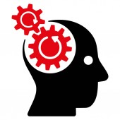 Plochý ikona otáčení kola mozku