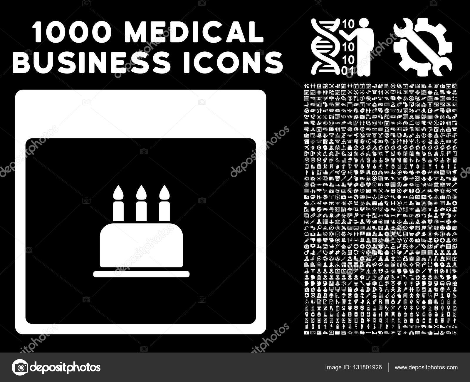 Birthday Cake Calendar Page Icon With 1000 Medical Business Symbols