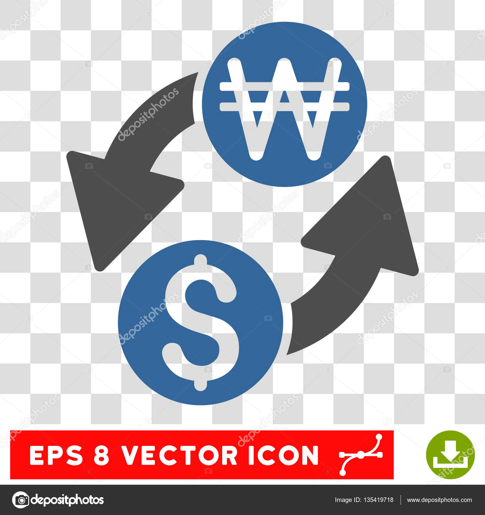 Dollar korean won exchange vector icon stock vector ahasoft dollar korean won exchange vector icon image style is a flat cobalt and gray iconic symbol vector by ahasoft buycottarizona