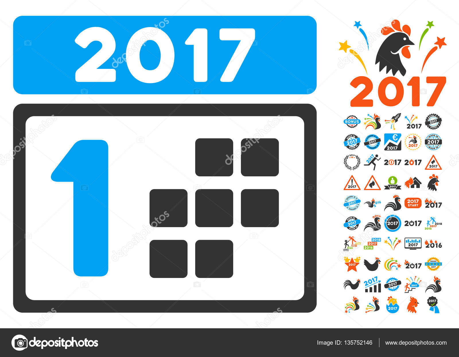 2017 first day pictograph with bonus 2017 new year clip art vector illustration style is flat iconic symbolsmodern colors vector by ahasoft
