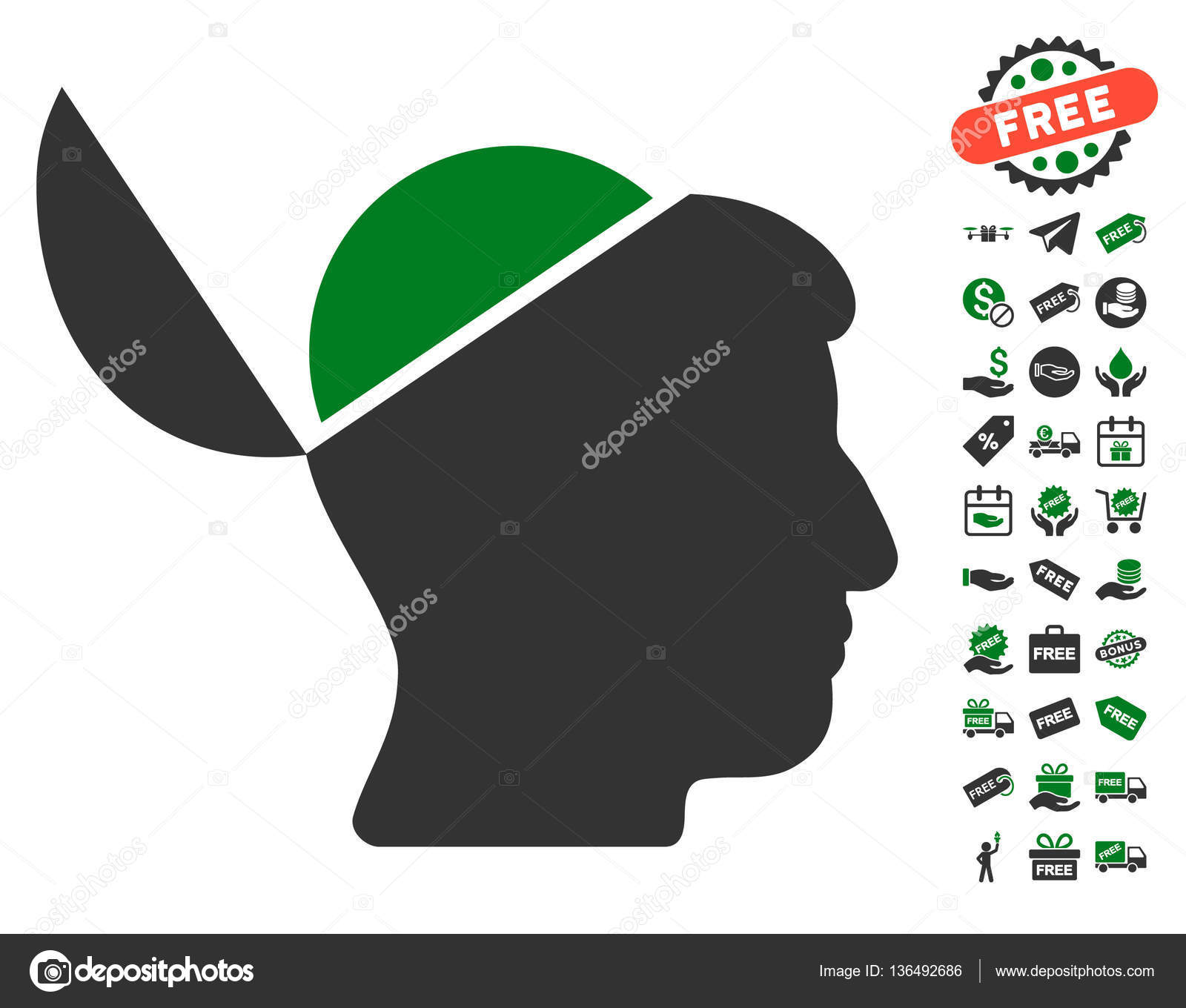 Open brain icon with free bonus stock vector ahasoft 136492686 open brain icon with free bonus stock vector biocorpaavc Images
