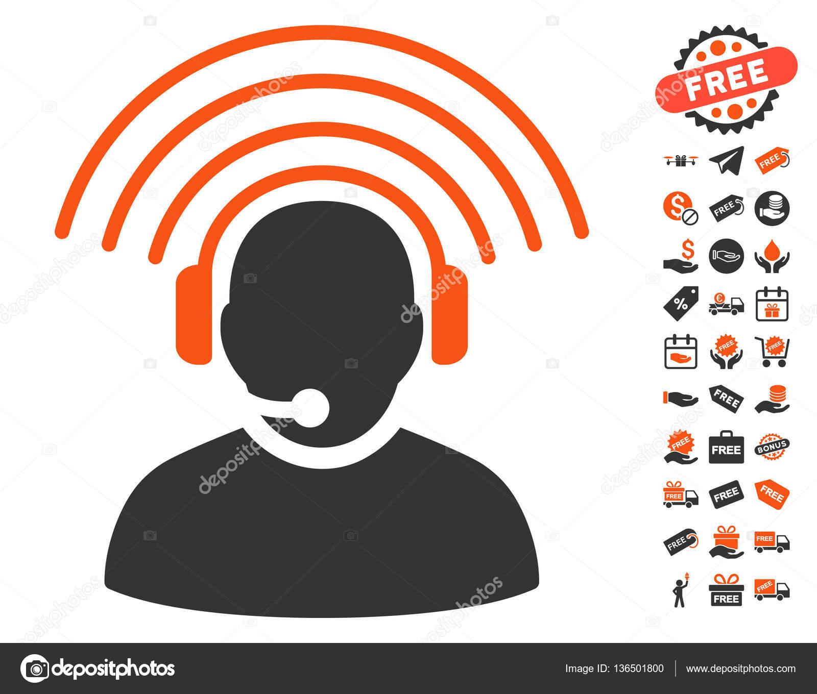無料ボーナス オペレーター ラジオ信号アイコン — ストックベクター