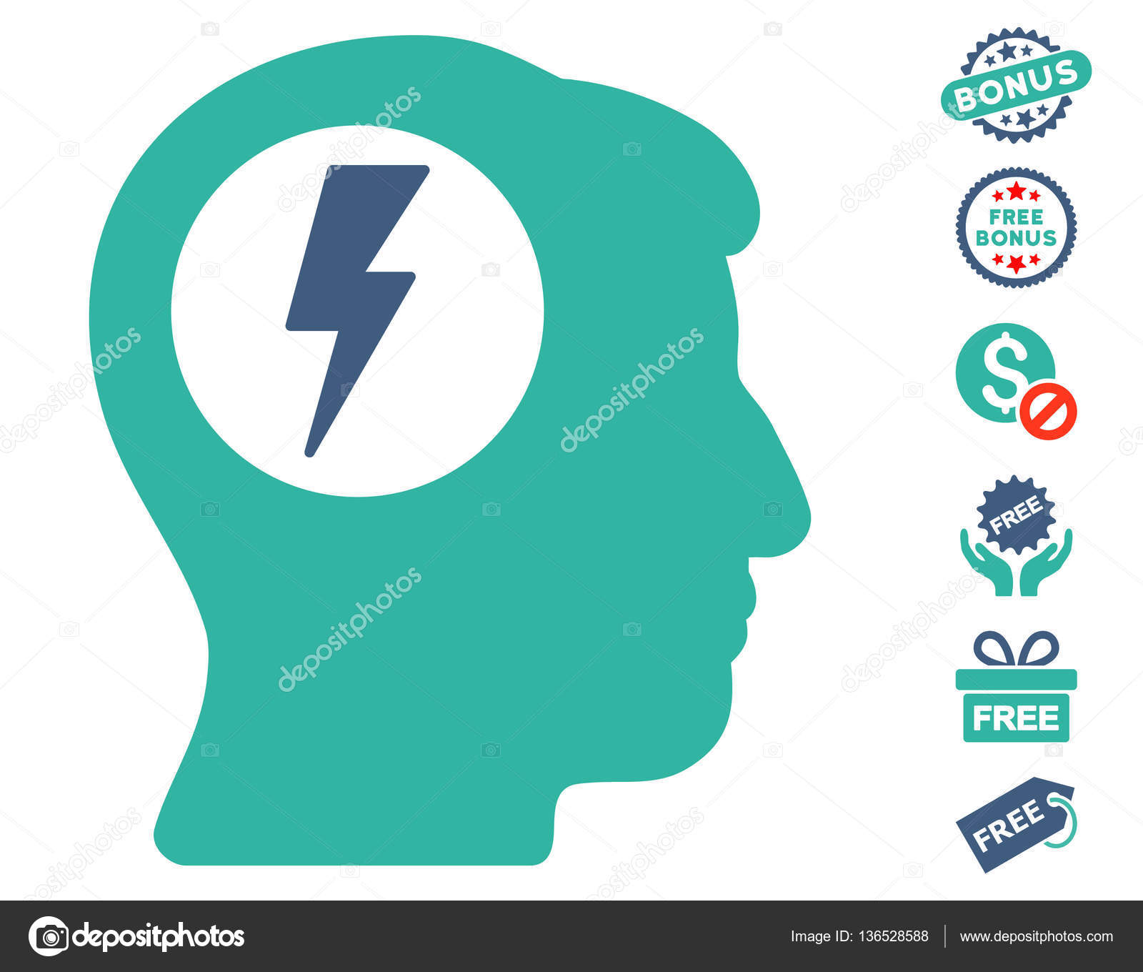 Brain electric shock icon with free bonus stock vector ahasoft brain electric shock icon with free bonus clip art vector illustration style is flat iconic symbols cobalt and cyan colors white background biocorpaavc Image collections