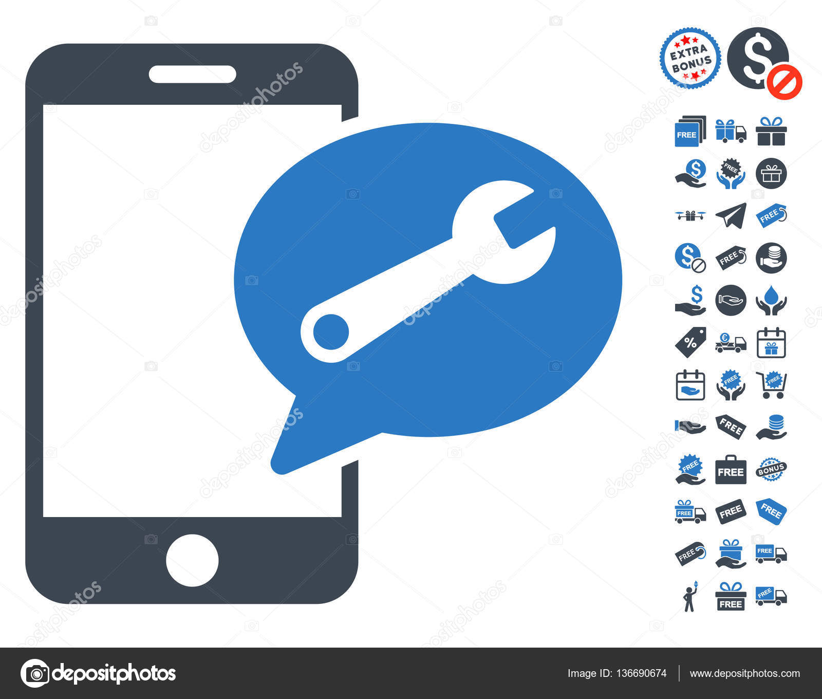 Phone service sms icon with free bonus stock vector ahasoft phone service sms icon with free bonus symbols vector illustration style is flat iconic symbols smooth blue colors white background vector by ahasoft biocorpaavc Images