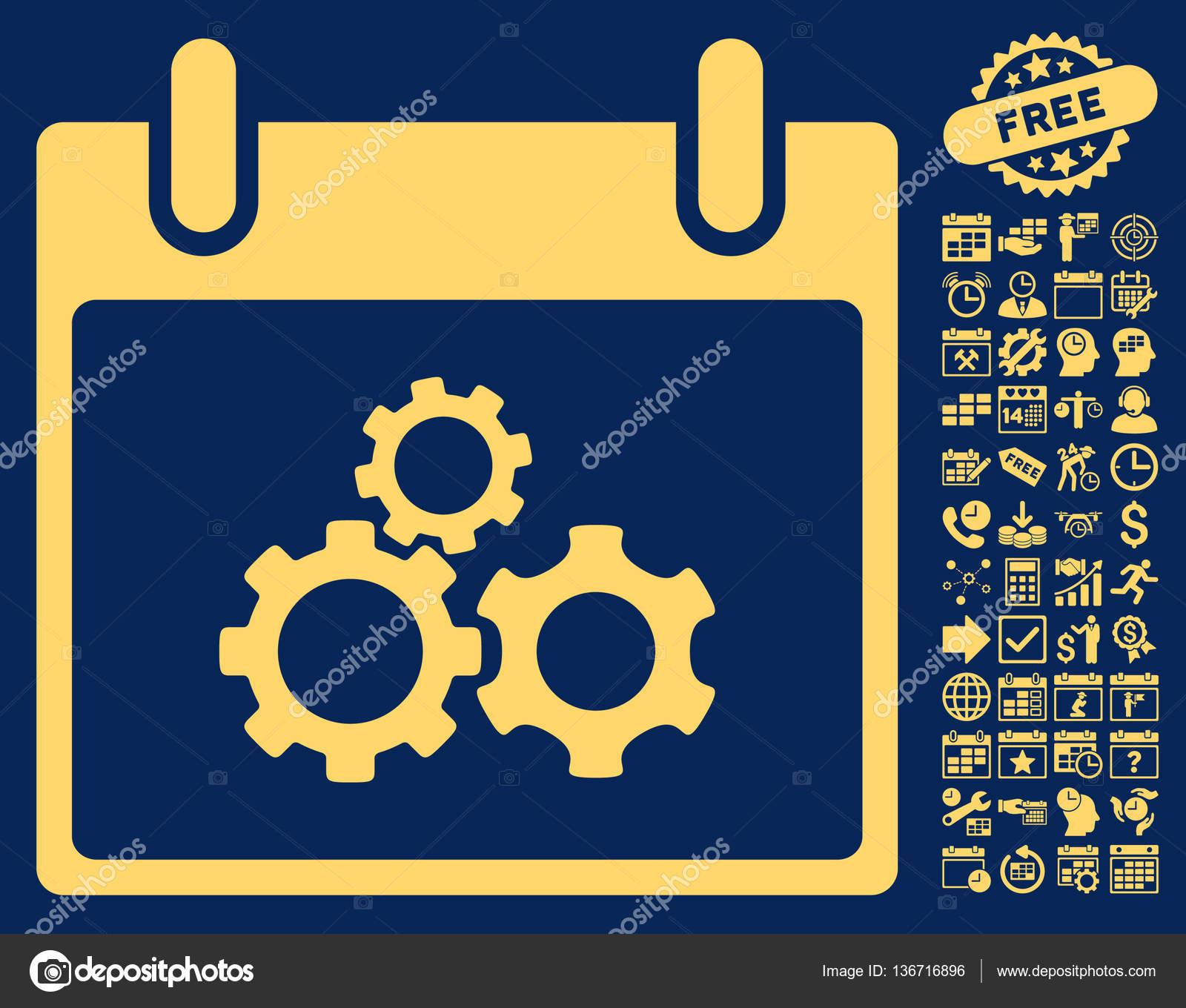 Calendario Meccanici.Meccanica Ingranaggi Calendario Giorno Piatto Vettoriale
