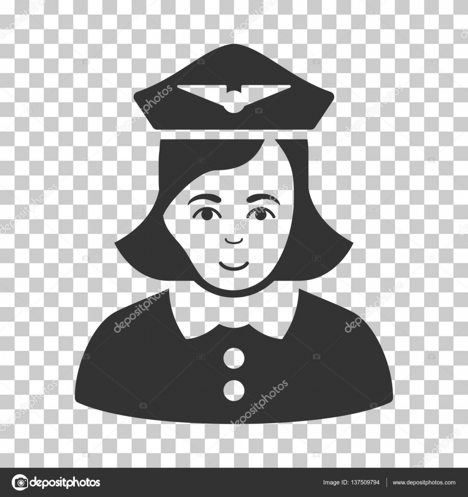 bfe170882b7 Airline Stewardess vector icon. Illustration style is flat iconic gray  symbol on a chess transparent background.