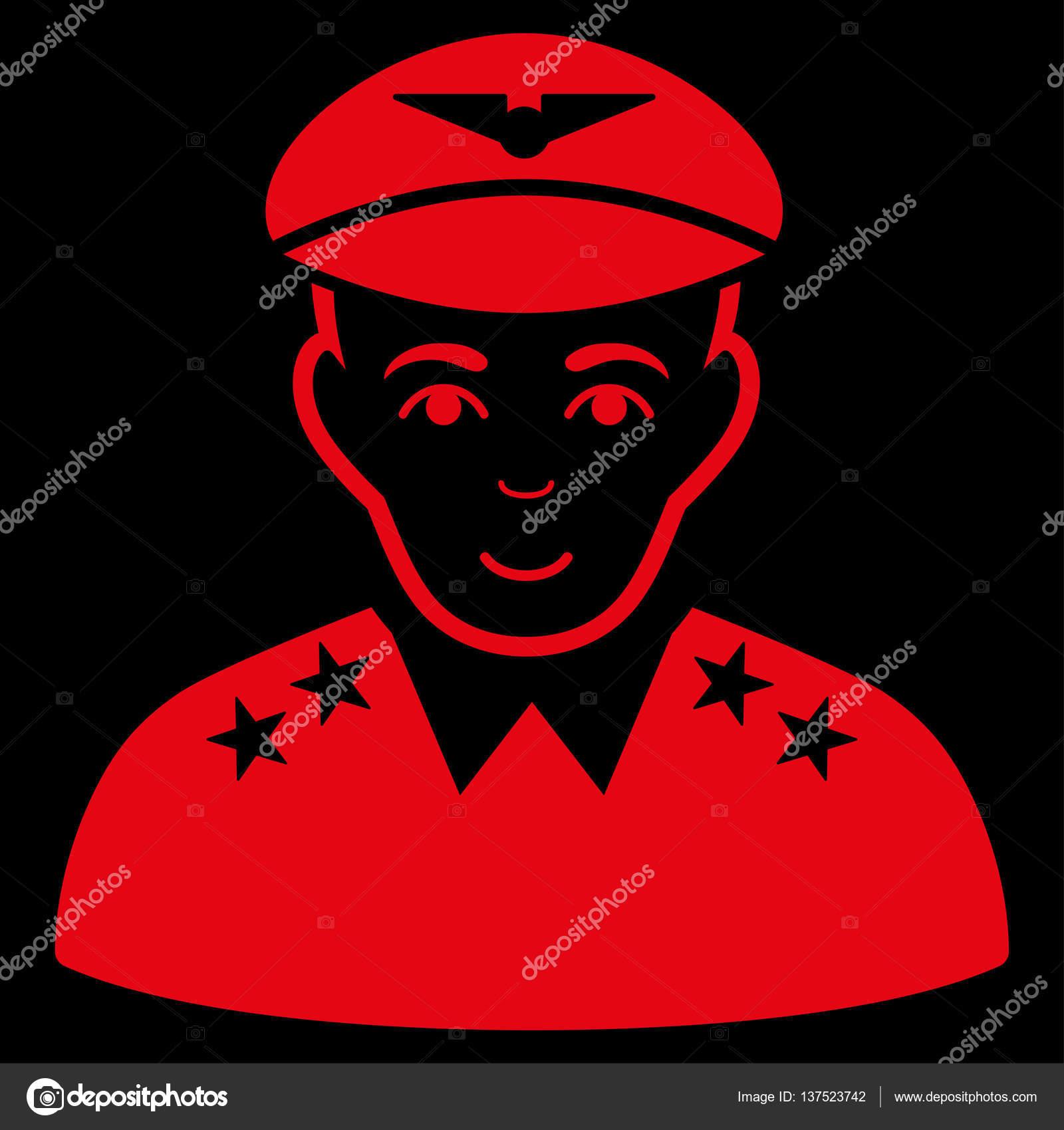 Icona di vettore ufficiale pilota militare. Simbolo rosso. Pittogramma è  isolato su una priorità bassa nera. Progettato per le interfacce web e  software ... 441c2ec5adf1