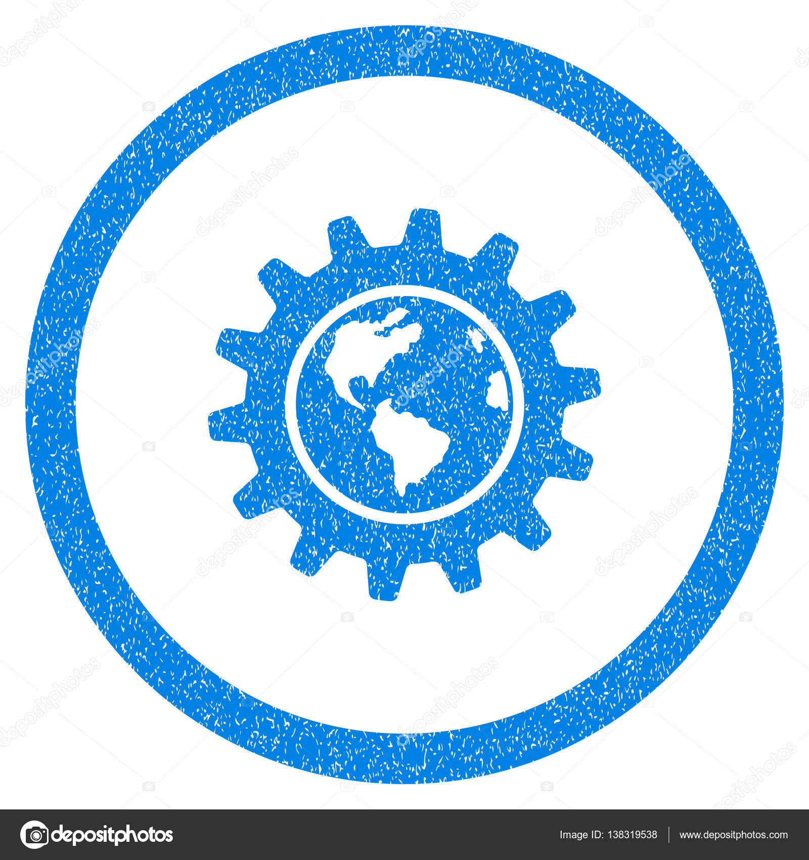 Rounded Earth Engineering Rubber Seal Stamp Watermark Icon Symbol Inside Circle With Grunge Design And Scratched Texture Unclean Vector Blue Sign