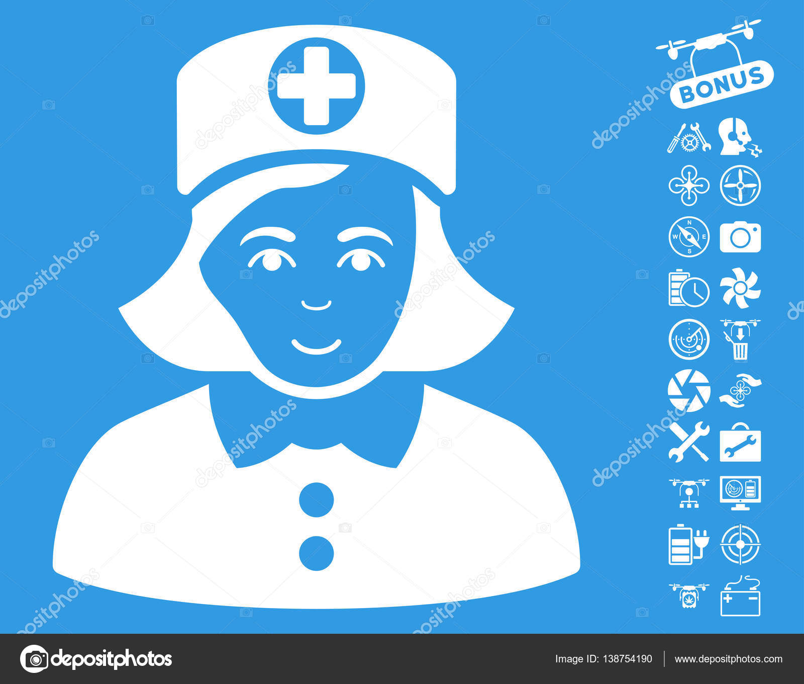 Nurse Icon with Copter Tools Bonus — Stock Vector © ahasoft