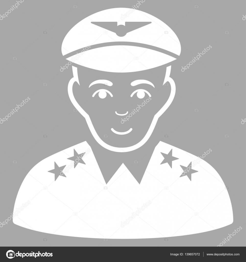 Icona di vettore ufficiale pilota militare. Piatto bianco simbolo.  Pittogramma è isolato su sfondo d argento. Progettato per le interfacce web  e software ... 965129214622