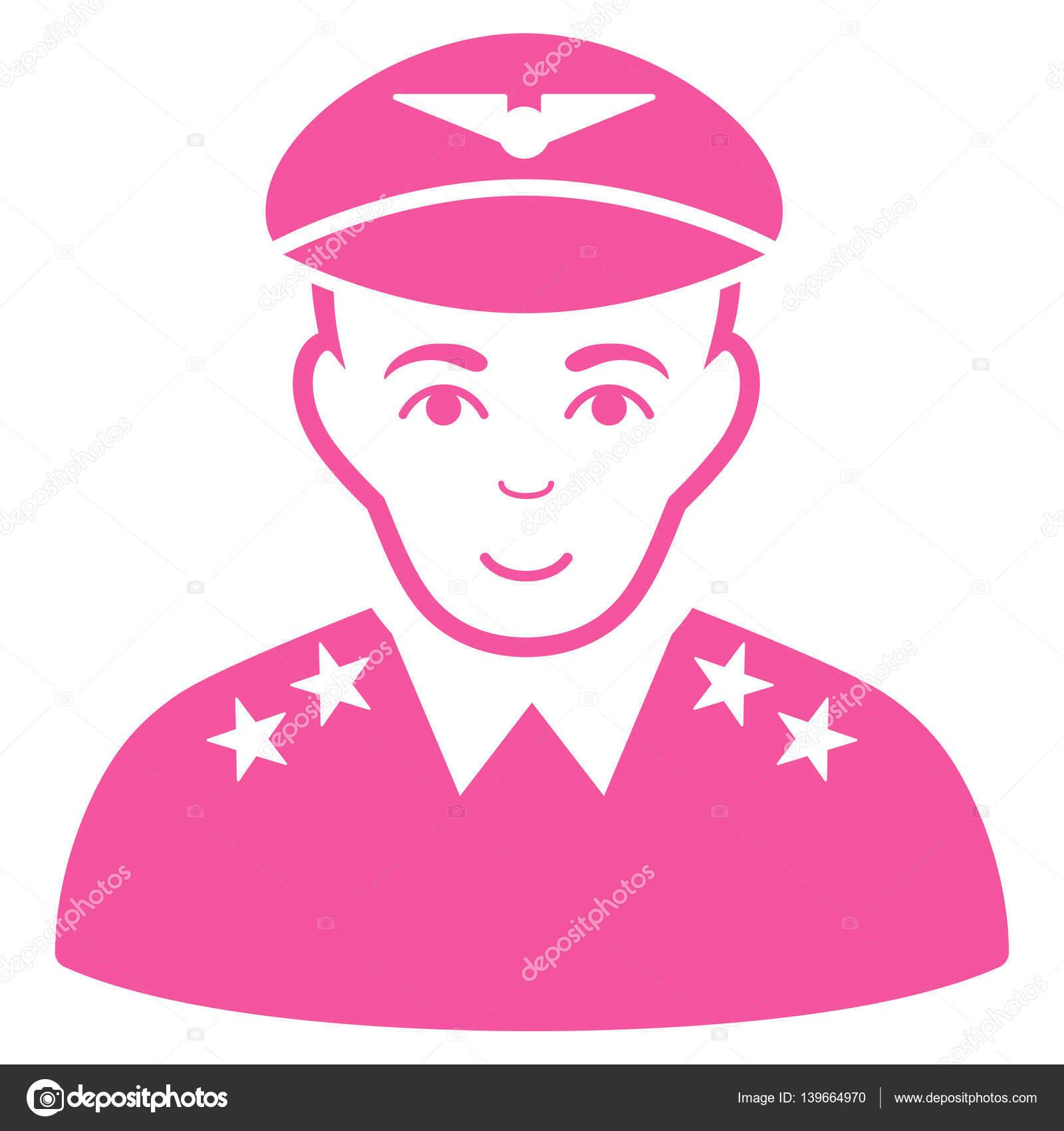 Icona di vettore ufficiale pilota militare. Appartamento rosa simbolo.  Pittogramma è isolato su una priorità bassa bianca. Progettato per le  interfacce web ... 8ef23ed6f604
