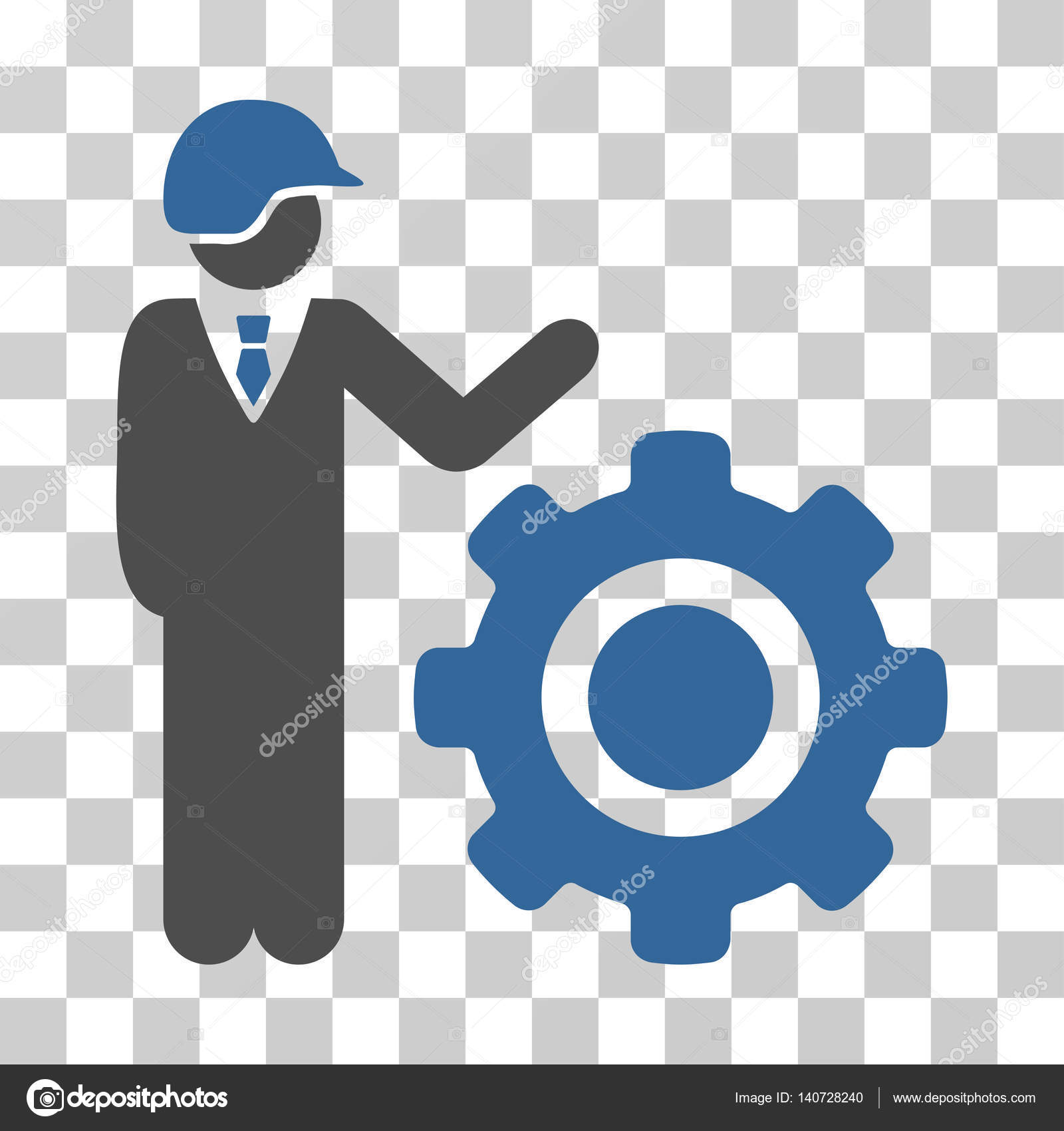 Industrial gear engineer vector icon stock vector ahasoft industrial gear engineer icon vector illustration style is flat iconic bicolor symbol cobalt and gray colors transparent background biocorpaavc