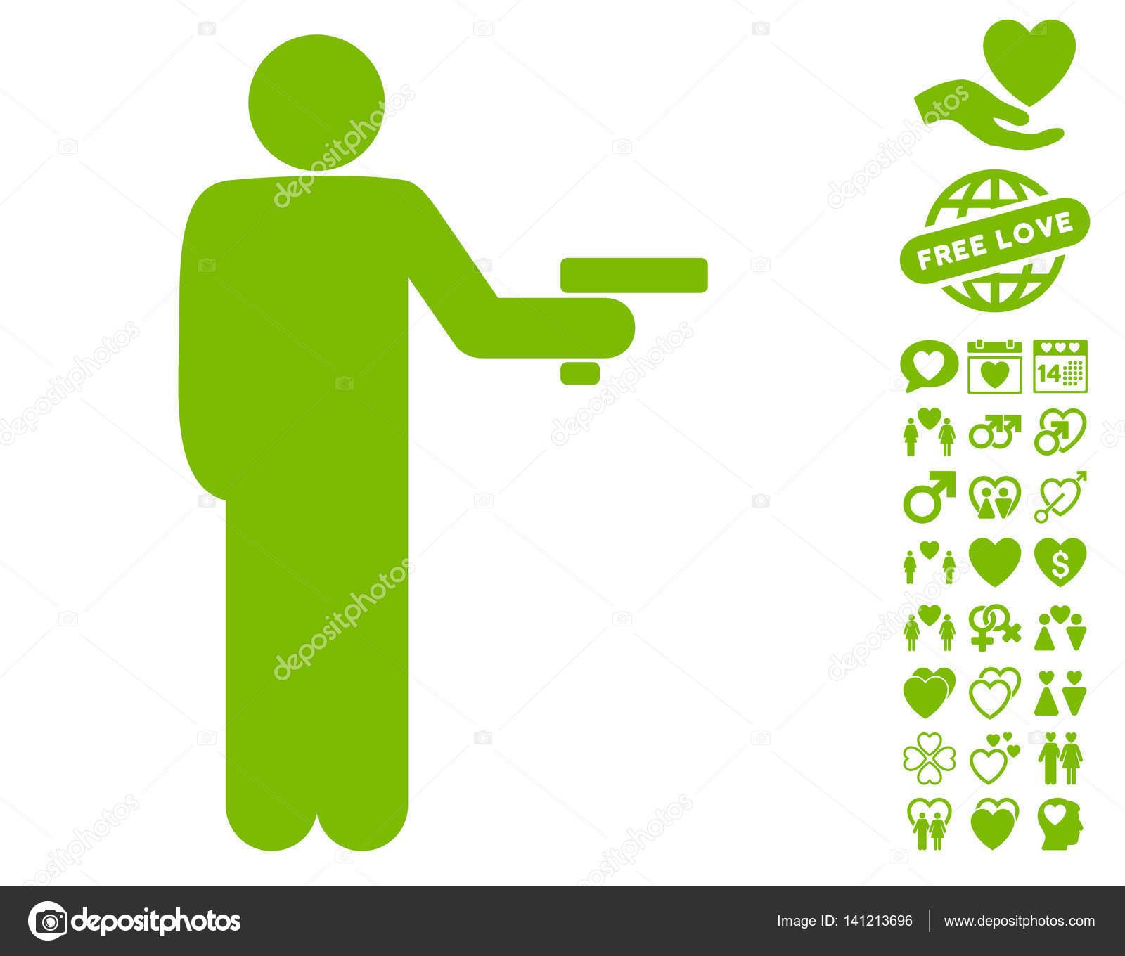 Robber With Gun Icon With Valentine Bonus Stock Vector Ahasoft