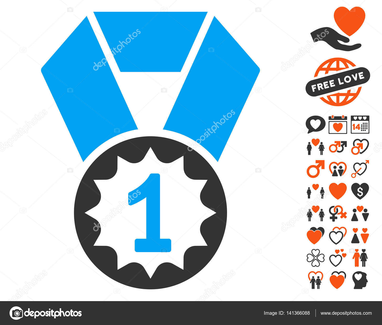 First Place Medal Icon with Lovely Bonus — Stock Vector