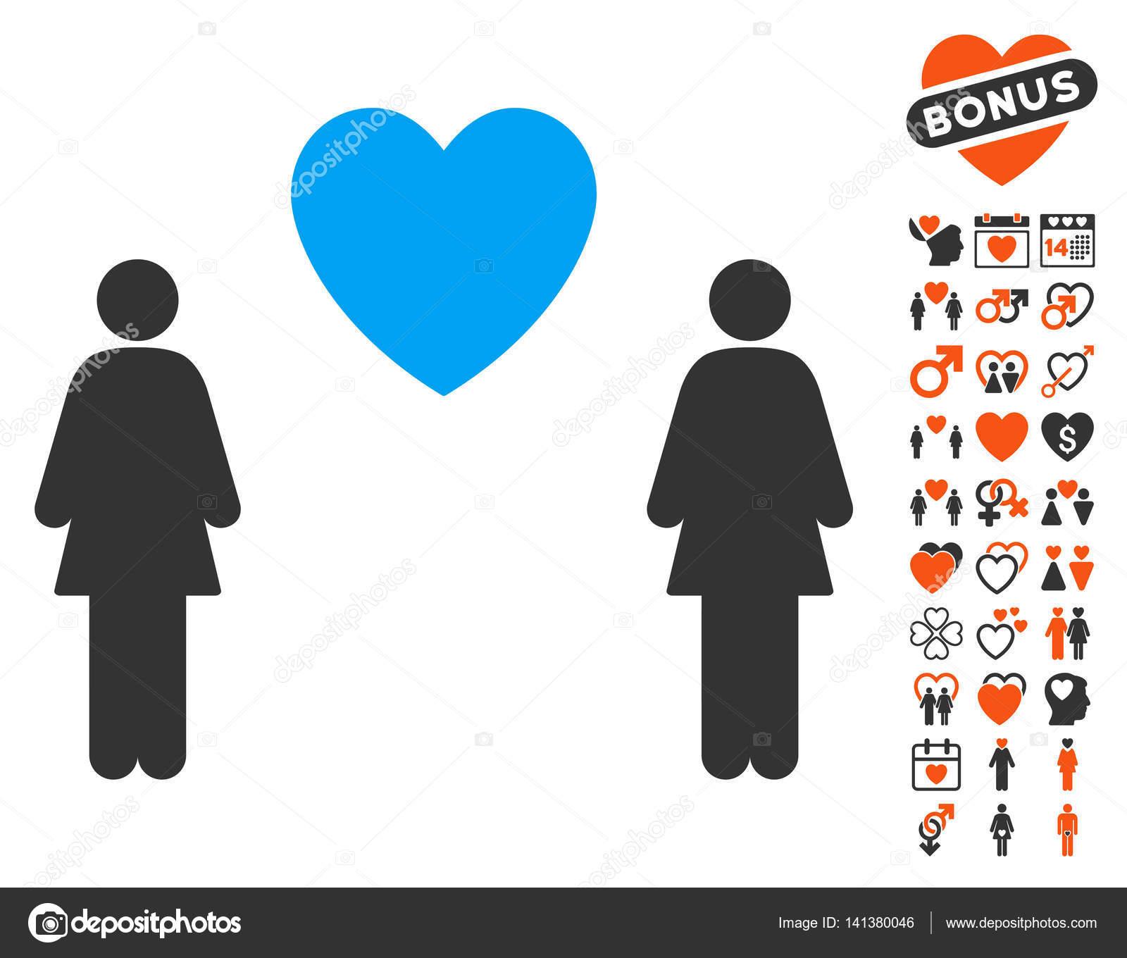 Gender identity symbols for homosexuality and heterosexuality lesbi love pair icon with love bonus buycottarizona