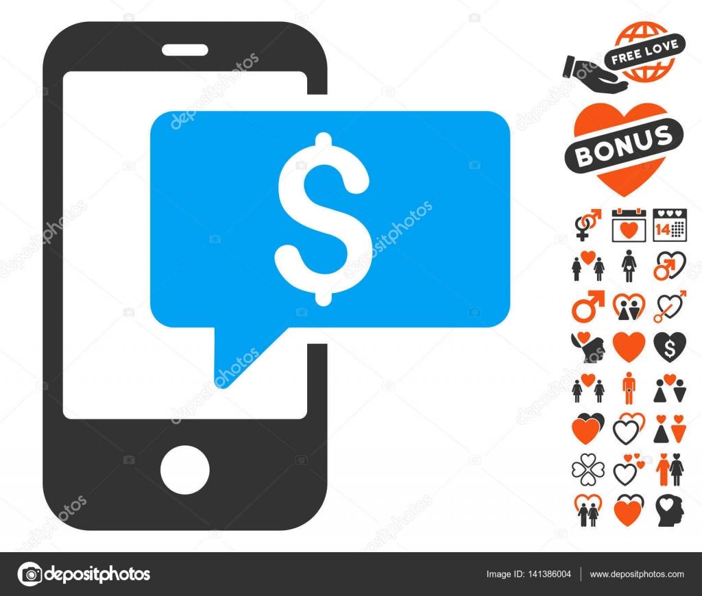 Money Phone Sms Icon With Valentine Bonus Stock Vector Ahasoft