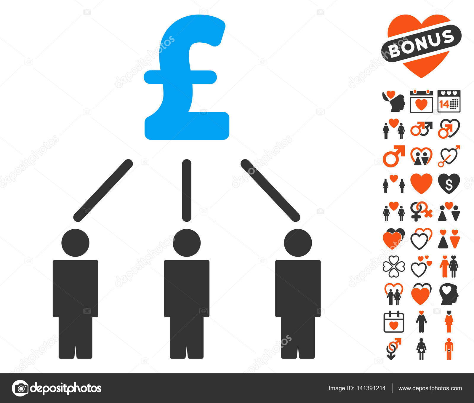 pound crowdfunding icon with lovely bonus stock vector ahasoft