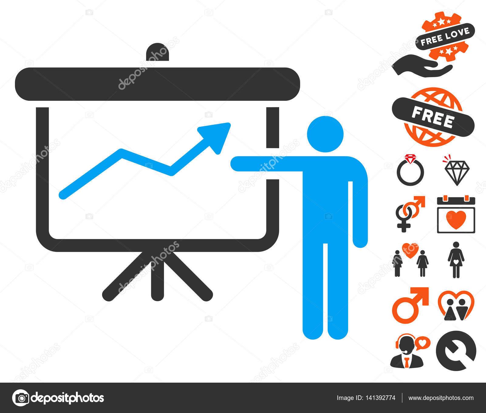 Projekt-Präsentation-Symbol mit schönen Bonus — Stockvektor ...
