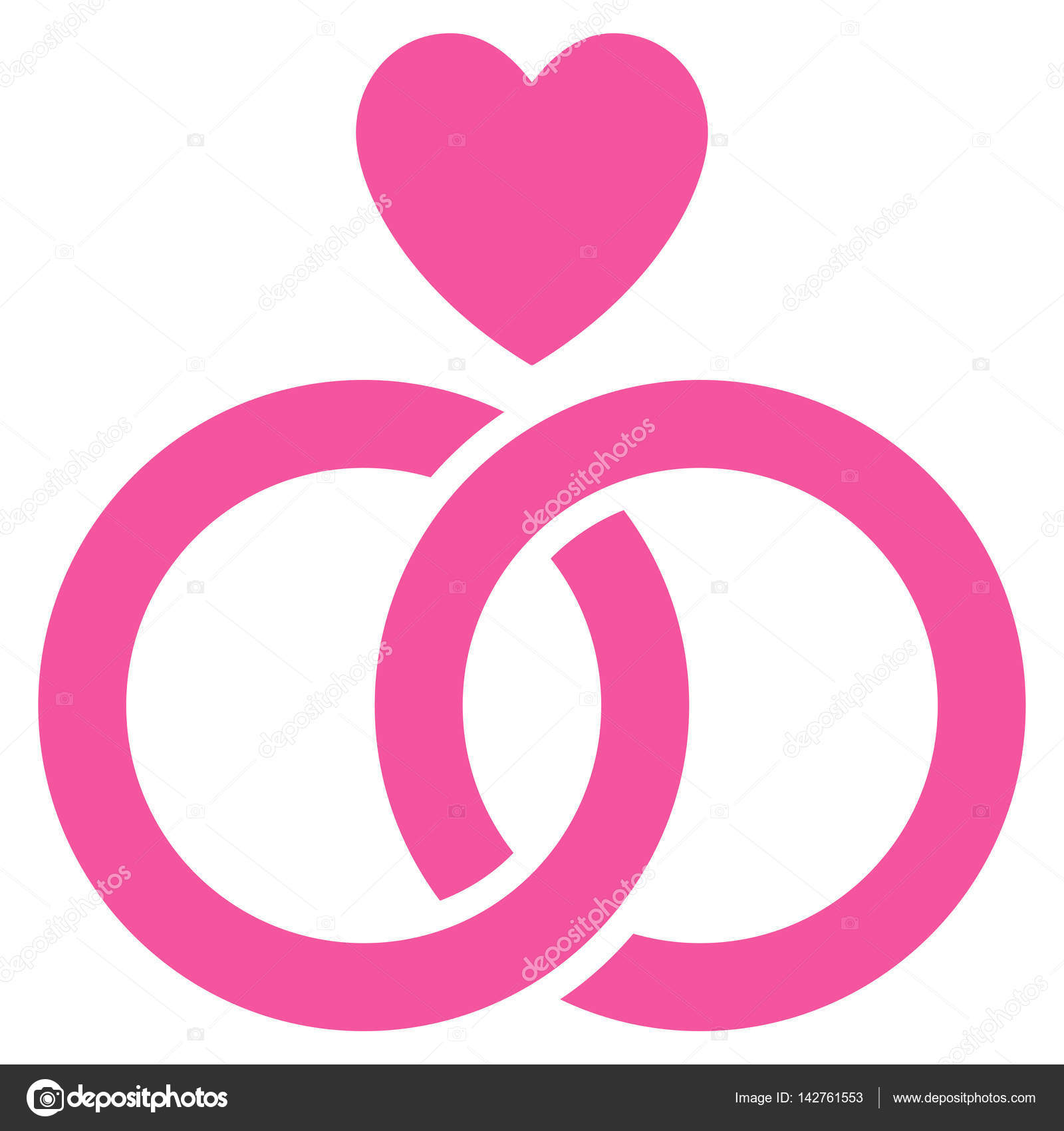Wedding Rings With Heart Flat Vector Icon — Stock Vector © ahasoft ...