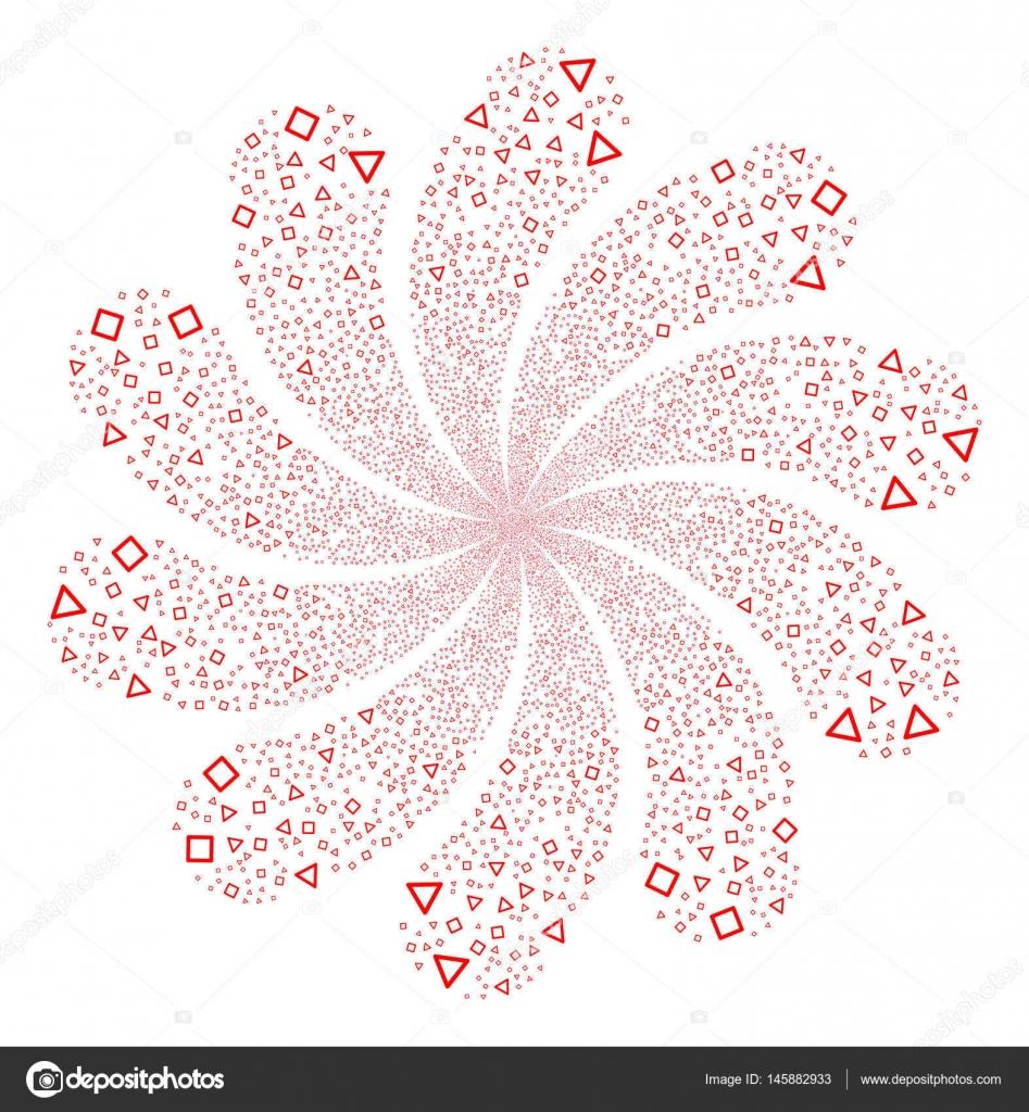 Triángulo y cuadrado Marcos fuegos artificiales flor remolino ...