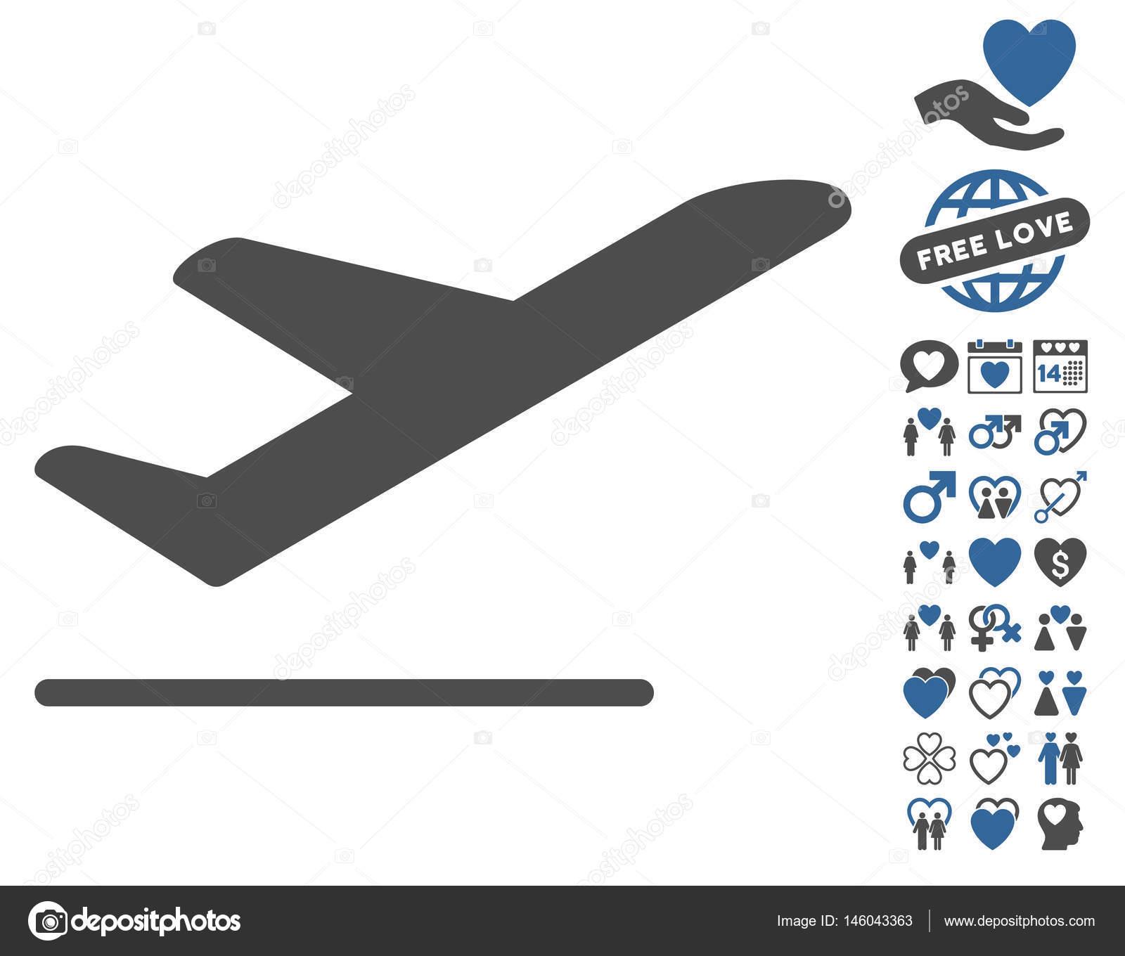 Airplane Departure Icon With Love Bonus Stock Vector C Ahasoft 146043363