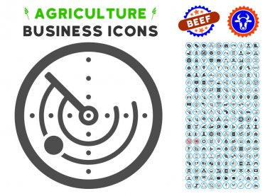 Radar gray icon with agriculture business pictogram clipart. Vector illustration style is a flat iconic symbol. Agriculture icons are rounded with blue circles. icon