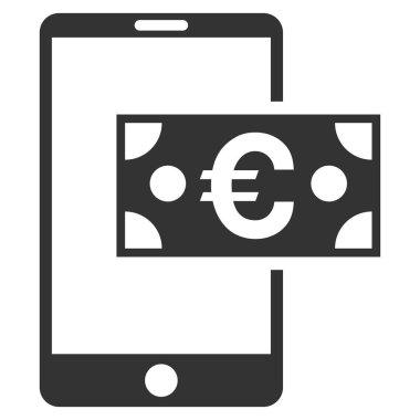 Euro Mobile Cash Flat Vector Icon