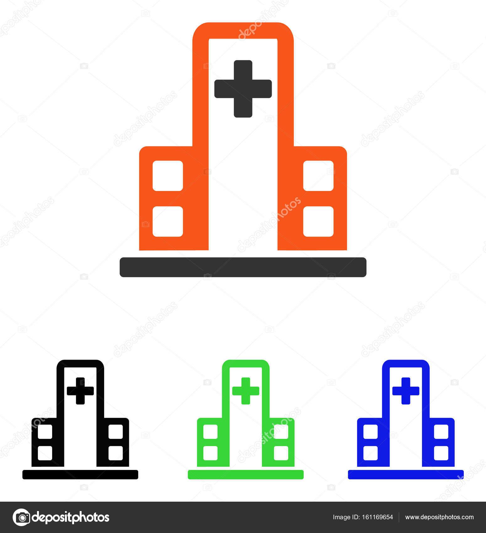 Edificio Hospital plano Vector icono — Archivo Imágenes Vectoriales ...