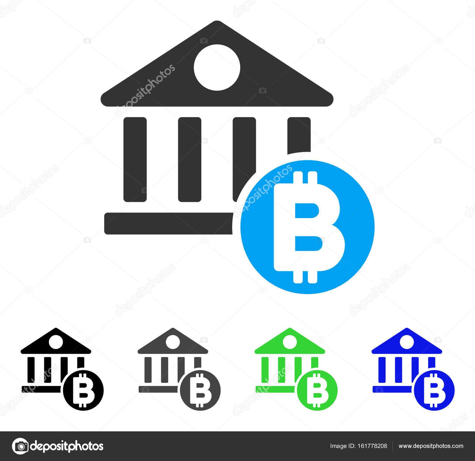 Banque Vectorielle bitcoin banque icône plate — image vectorielle ahasoft © #161778208