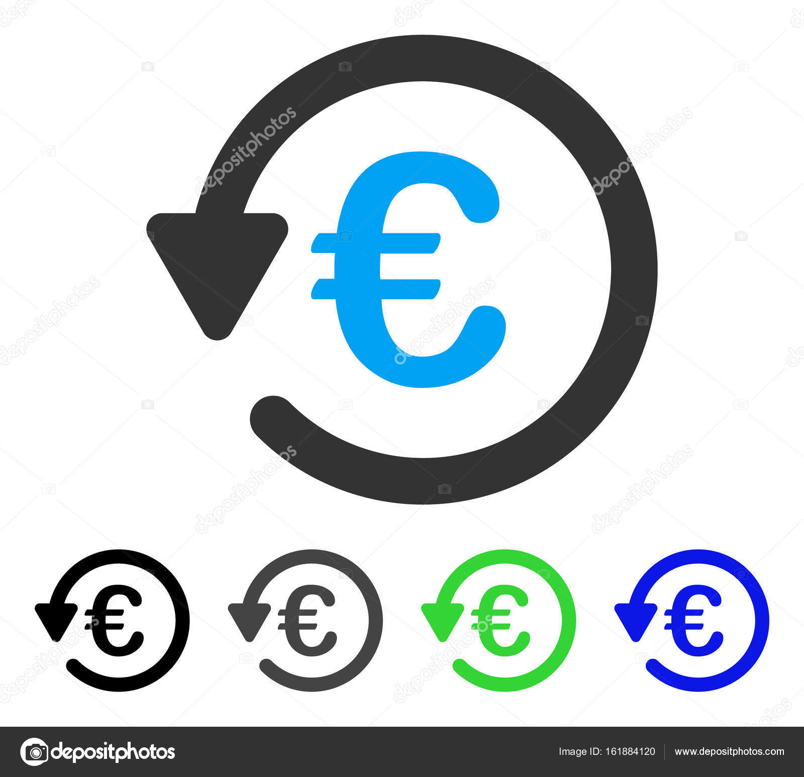 Colored Euro rebate gray, black, blue, green icon versions. Flat icon style  for graphic design. — Vector by ahasoft. Find Similar Images