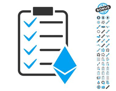 Ethereum Smart Contract Icon with Bonus Symbols