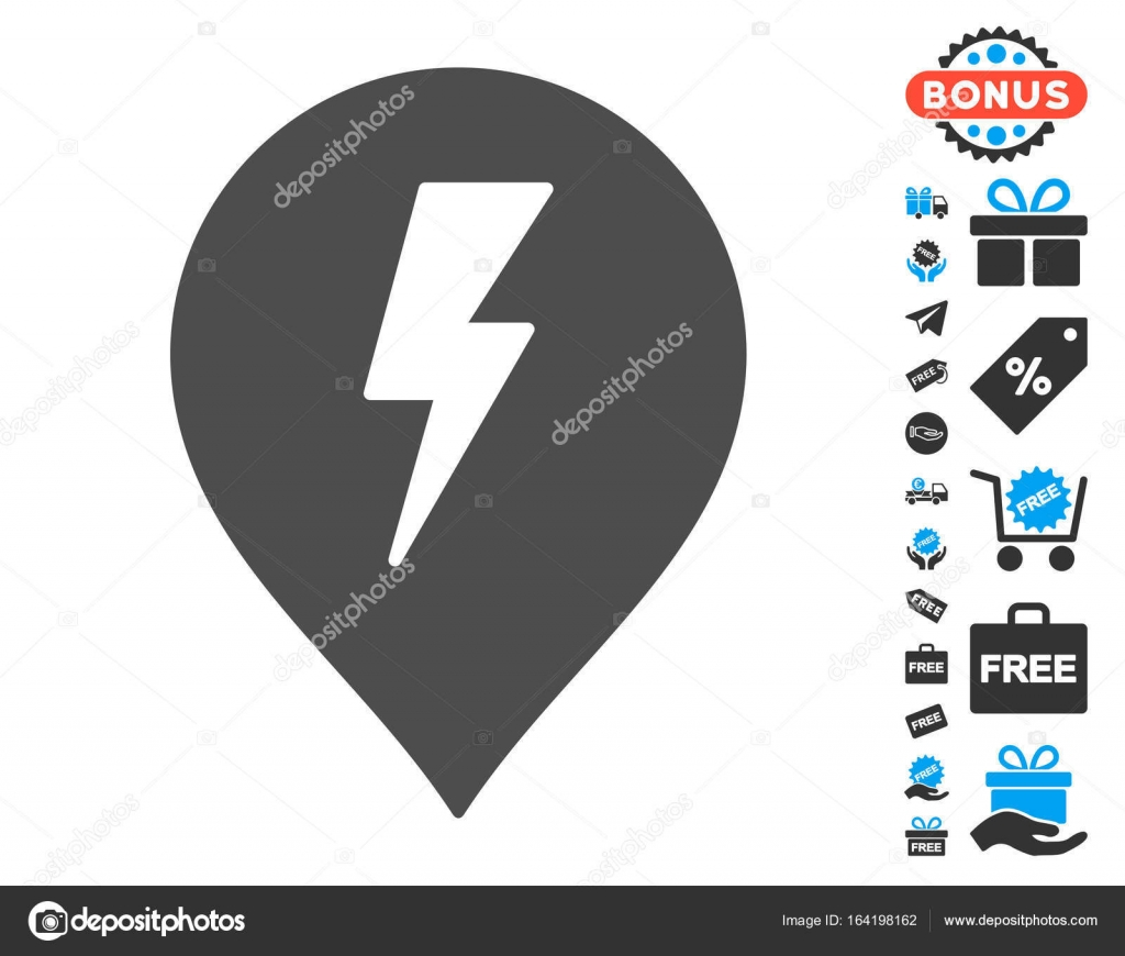 Electric Shock Marker Icon with Free Bonus — Stock Vector © ahasoft ...