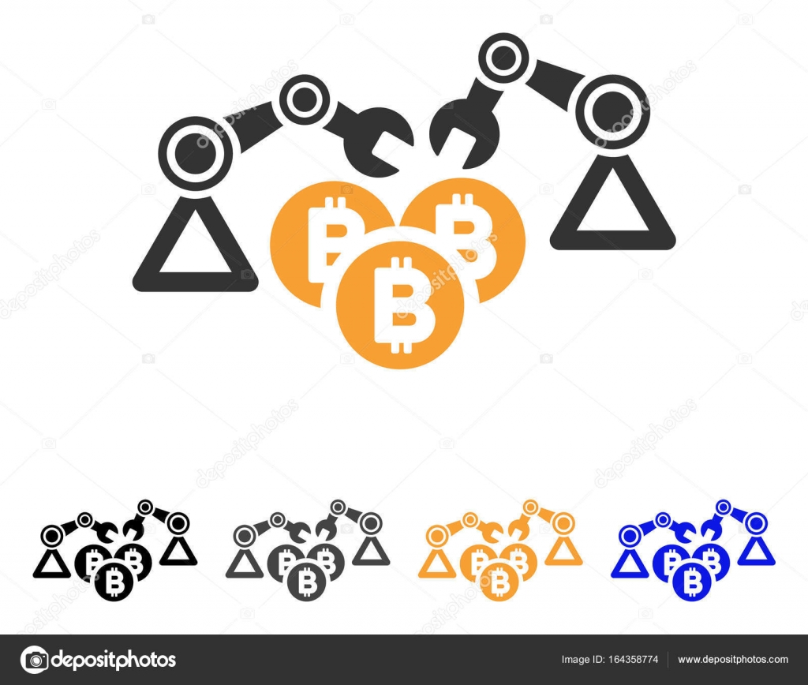 Bitcoin Mining Robotics Vector Icon Stock Vector C Ahasoft 164358774