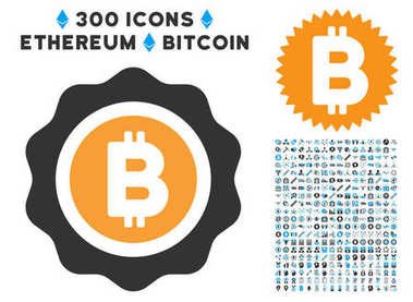 Bitcoin Seal Flat Icon with