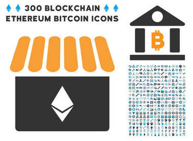 Ethereum Store Flat Icon with Clip Art