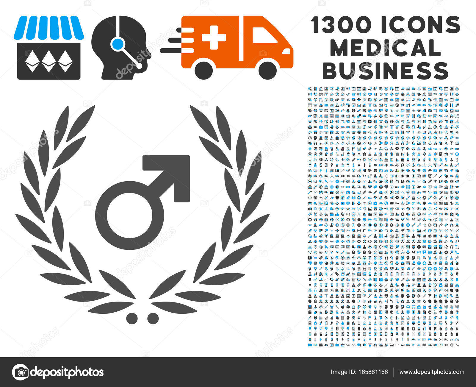 Male symbol laurel wreath icon with 1300 medical business icons male symbol laurel wreath icon with 1300 medical business icons stock vector buycottarizona Images
