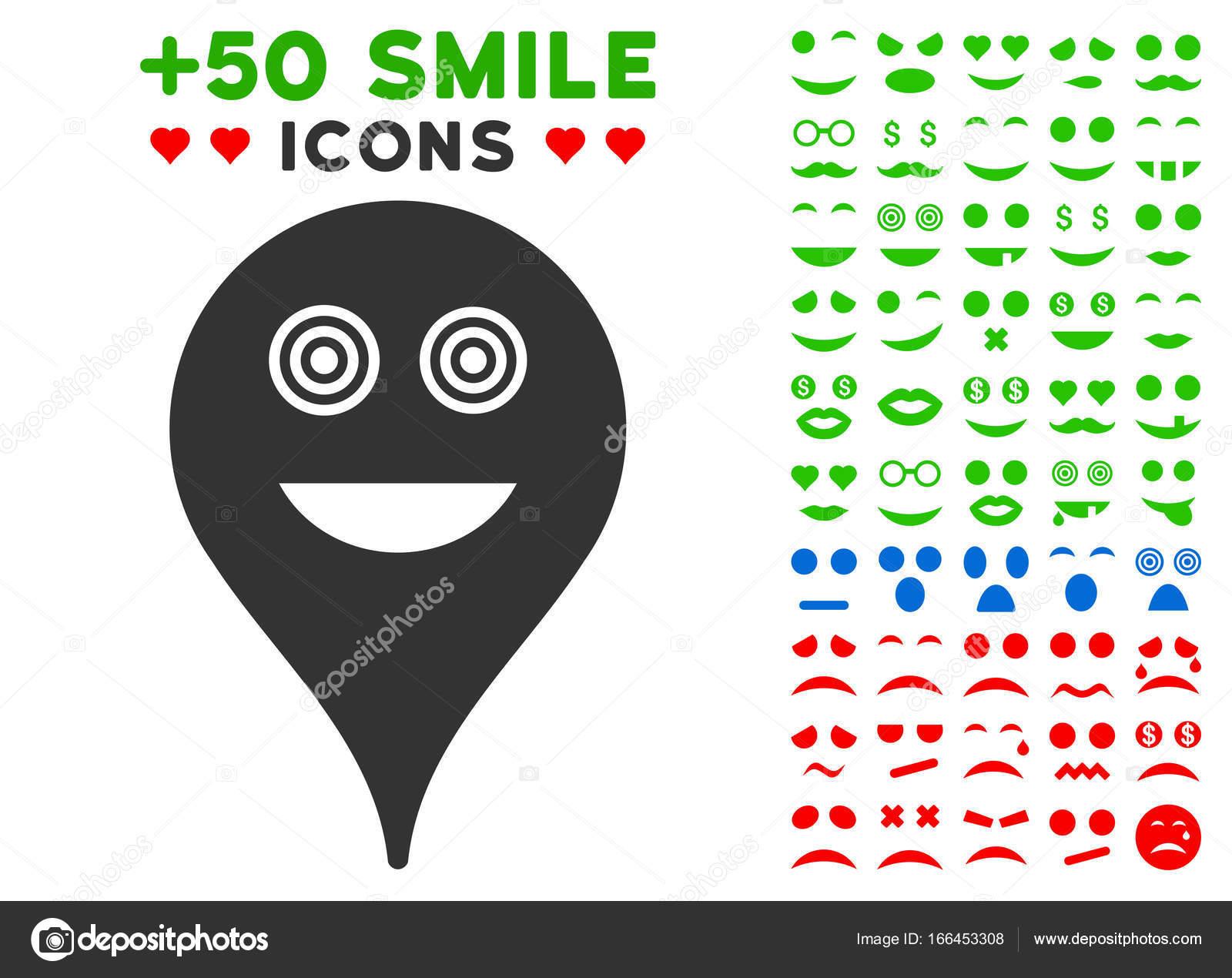 Crazy Smiley Map Marker Icon With Bonus Emoticon Clipart Stock